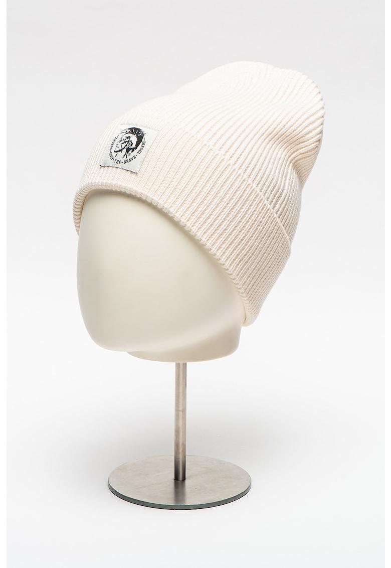 Caciula unisex din amestec de lana cu aplicatie logo Coder
