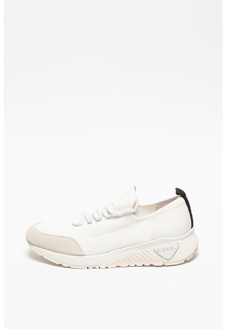 Pantofi sport din material textil cu insertii din piele intoarsa ecologica Kby imagine