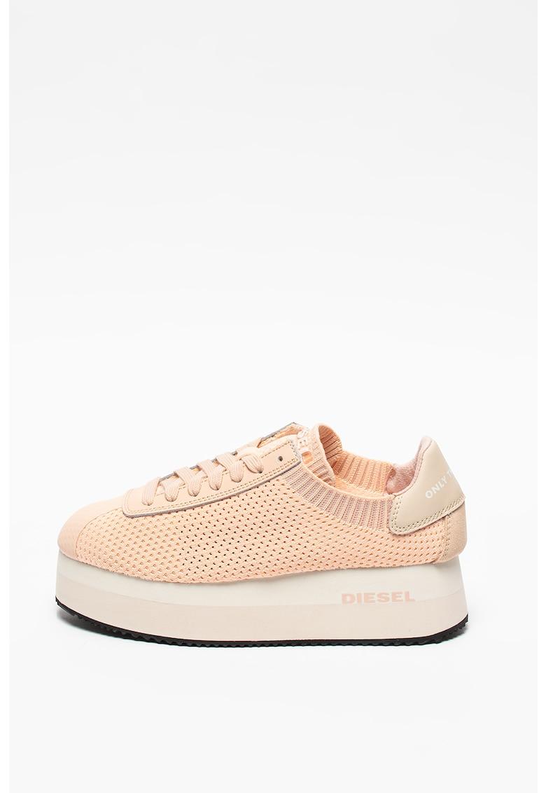 Pantofi sport wedge cu insertii de piele Pyave