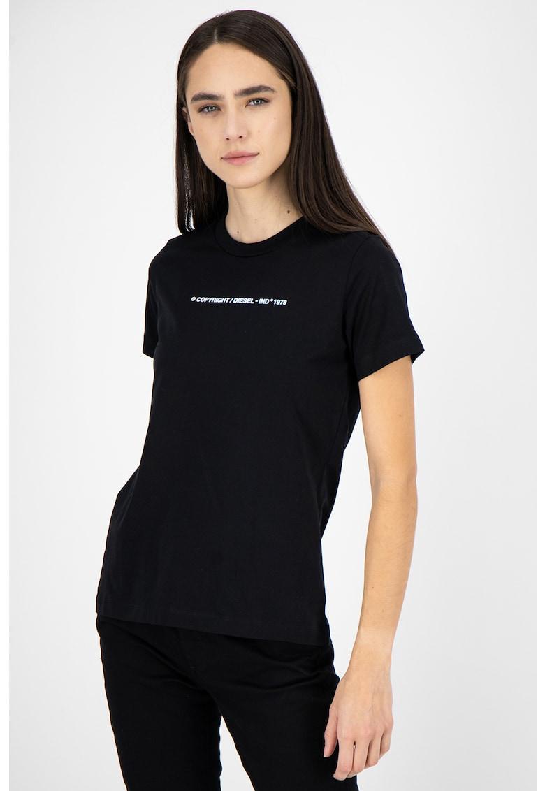 Tricou de bumbac cu decolteu la baza gatului Sily poza fashiondays