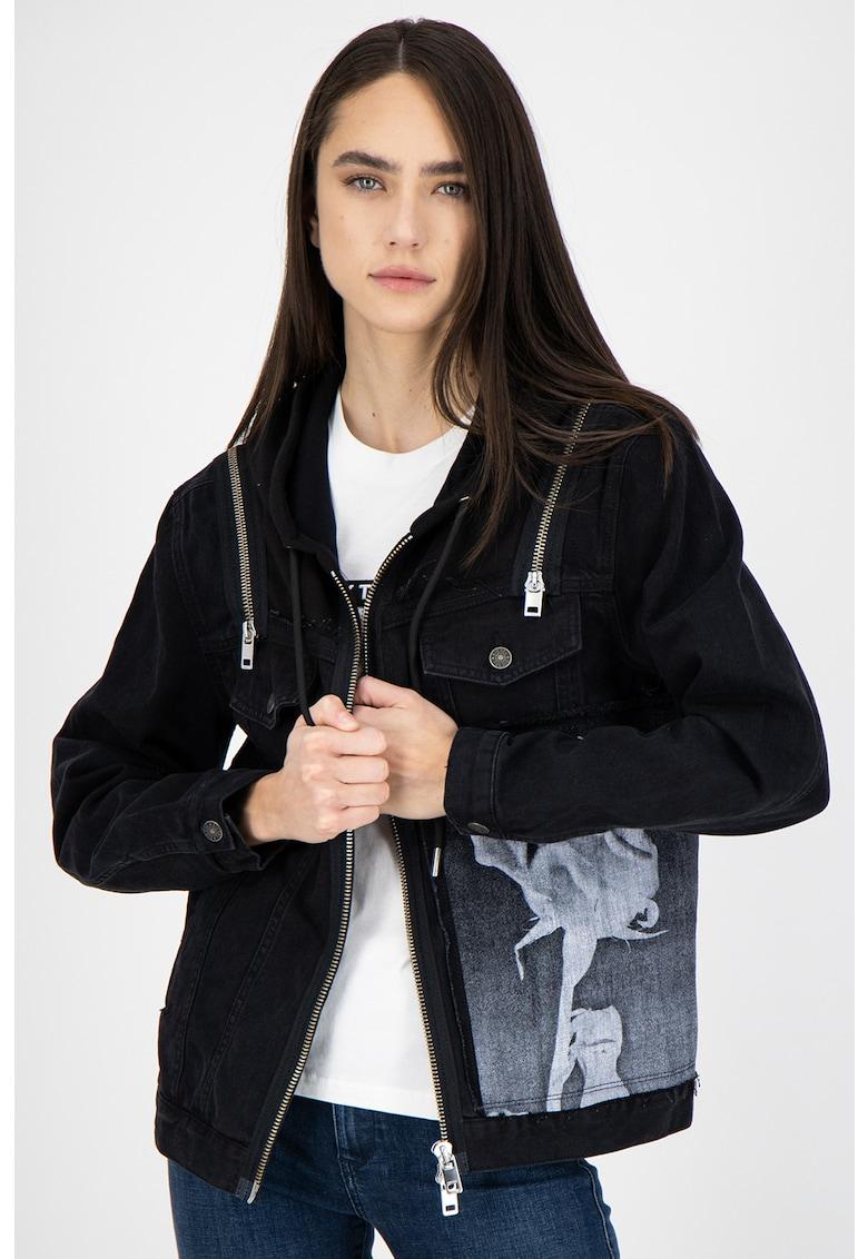 Jacheta din denim cu gluga De-Vyse