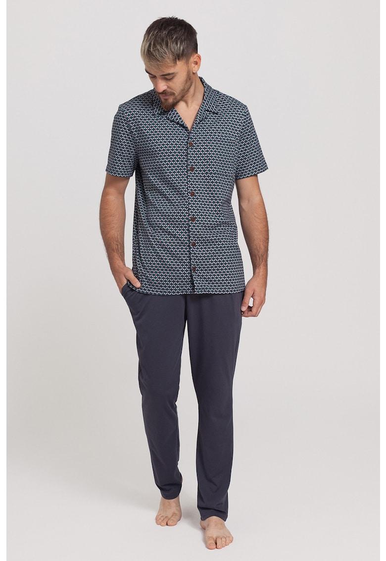 Pijama cu bluza cu model geometric Emil