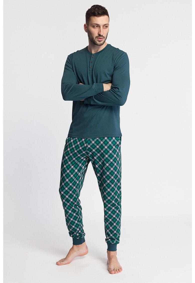 Pijama din amestec de modal cu imprimeu Tartan poza fashiondays