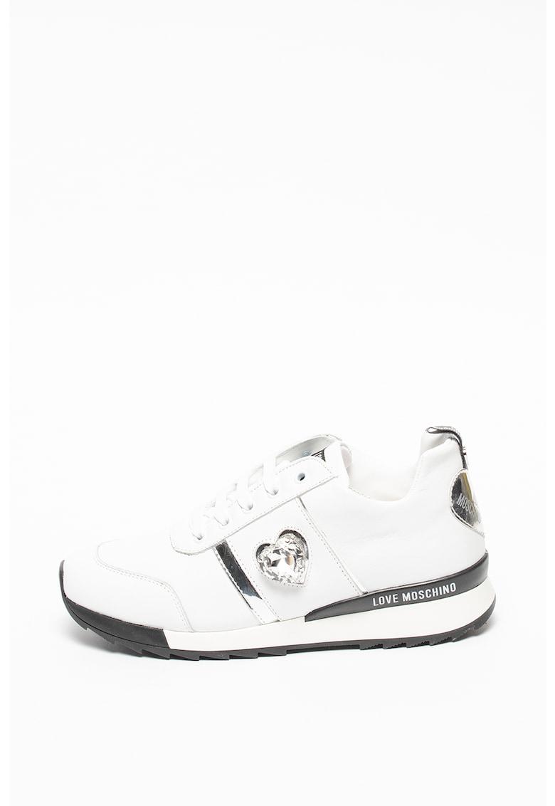 Pantofi sport din piele cu aplicatie cu strasuri