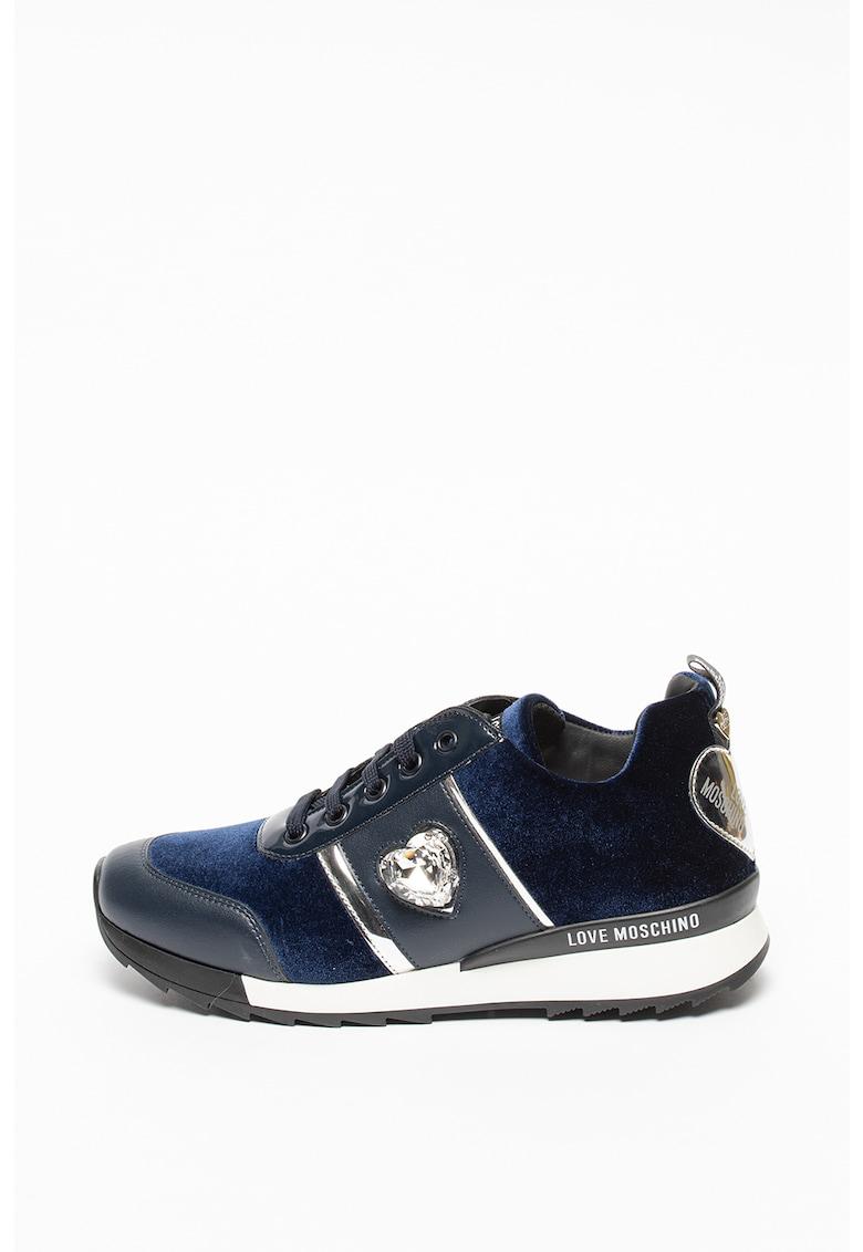 Pantofi sport din piele ecologica si catifea