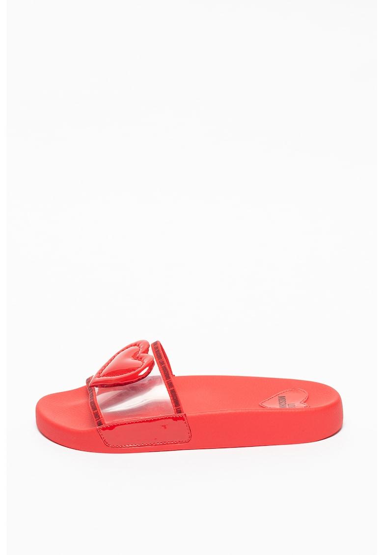 Papuci cu aplicatie in forma de inima imagine fashiondays.ro Love Moschino
