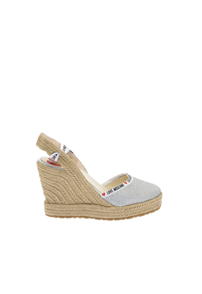 Sandale tip espadrile wedge cu aspect stralucitor Love Moschino fashiondays.ro
