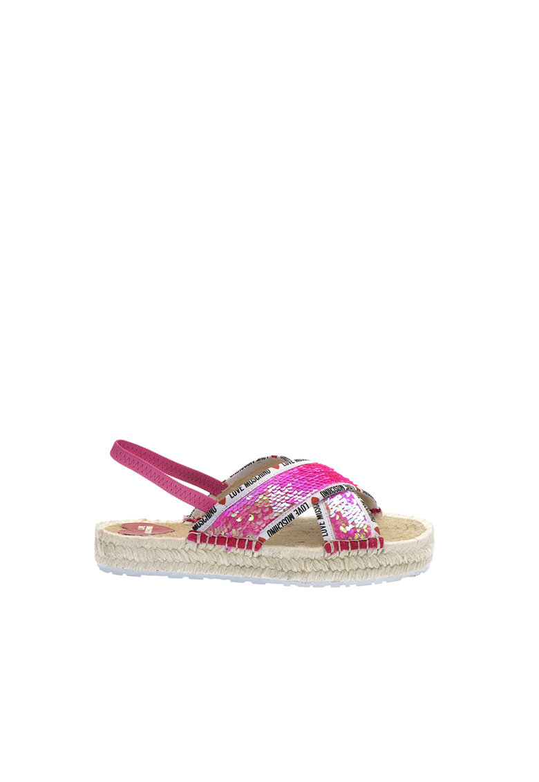 Sandale slingback tip espadrile cu paiete