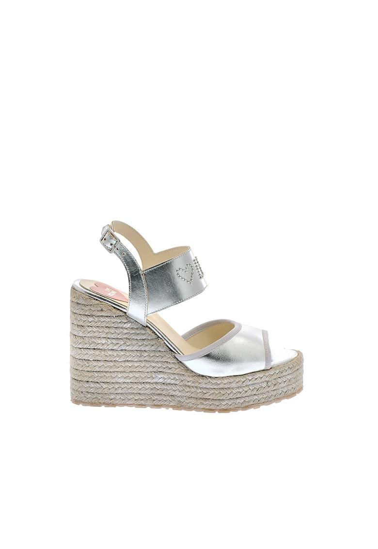 Sandale tip espadrile wedge de piele cu aspect metalizat