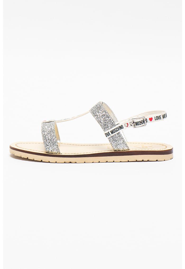 Sandale cu logo si aspect stralucitor de la Love Moschino