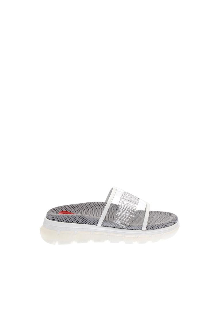Papuci cu aspect transparent imagine fashiondays.ro Love Moschino