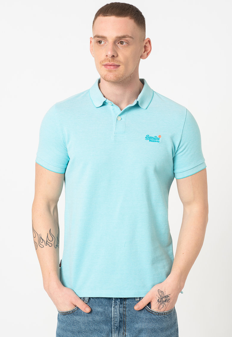 Tricou polo slim fit din pique Bărbați imagine