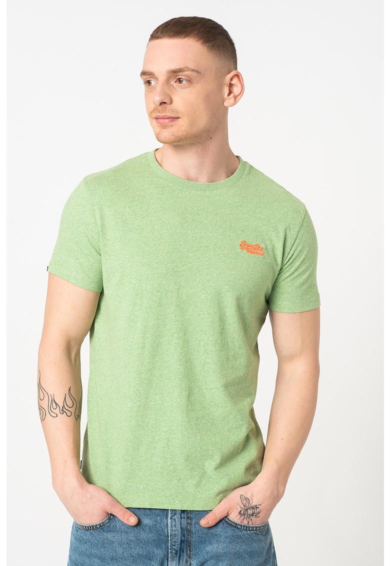 Tricou cu decolteu la baza gatului si logo Bărbați imagine