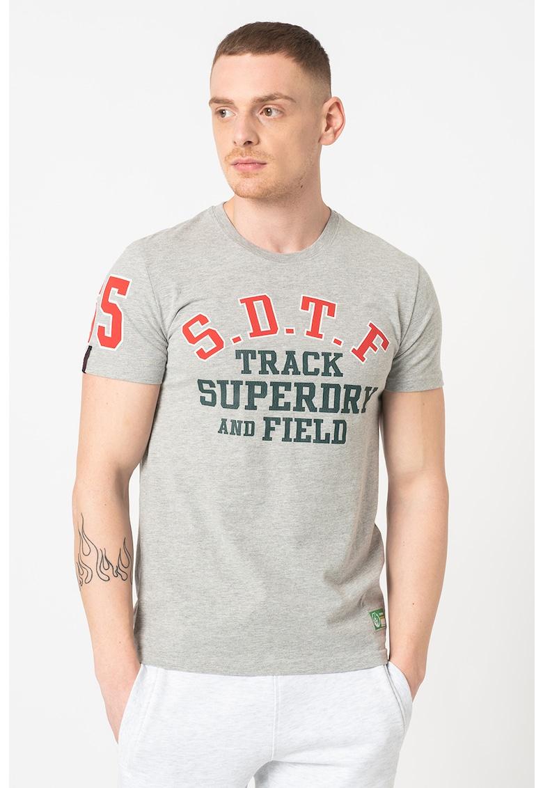 Tricou cu decolteu la baza gatului si imprimeu logo Track&Field Bărbați imagine