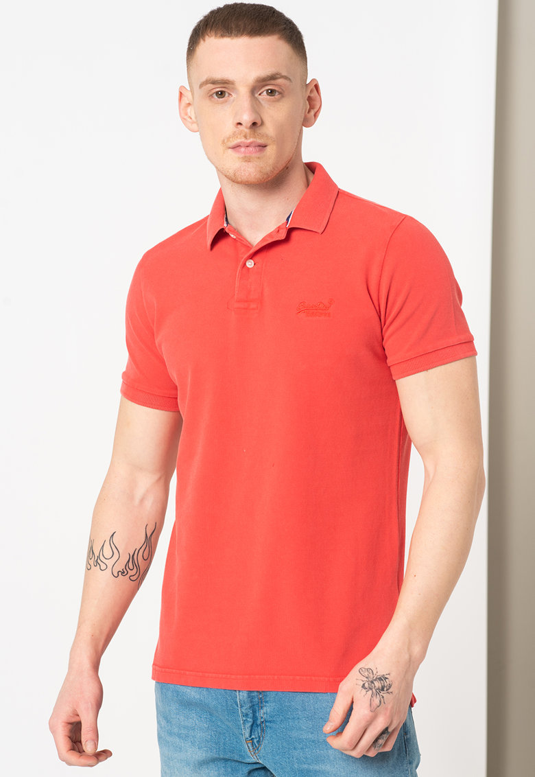 Tricou polo din pique Vintage Destroyed Bărbați imagine