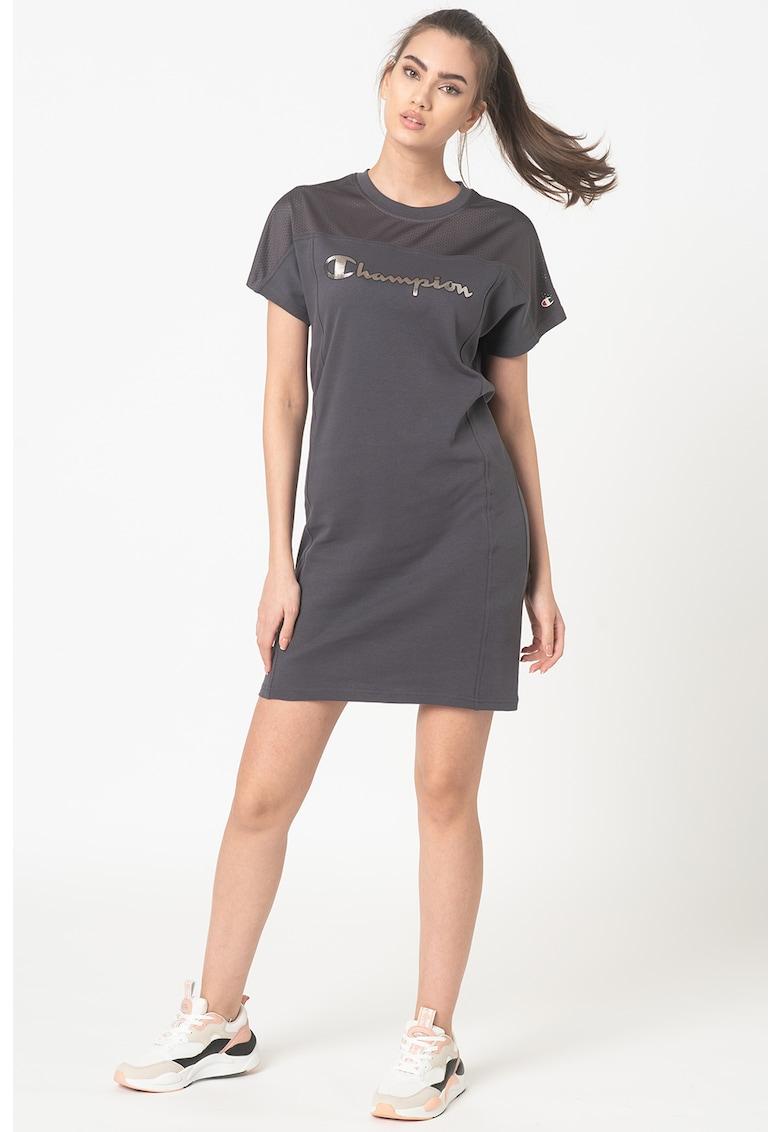 Rochie mini tip tricou cu insertii din plasa Lady Net fashiondays.ro