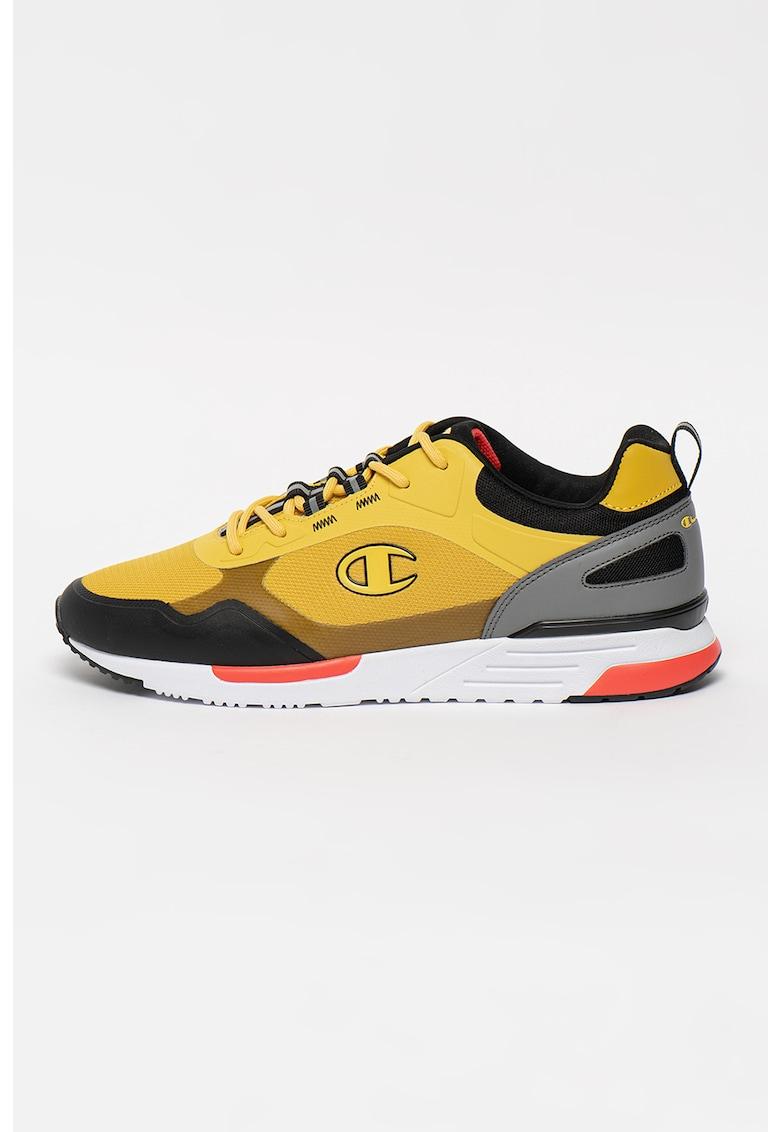 Pantofi sport de plasa cu garnituri de piele ecologica Samuel