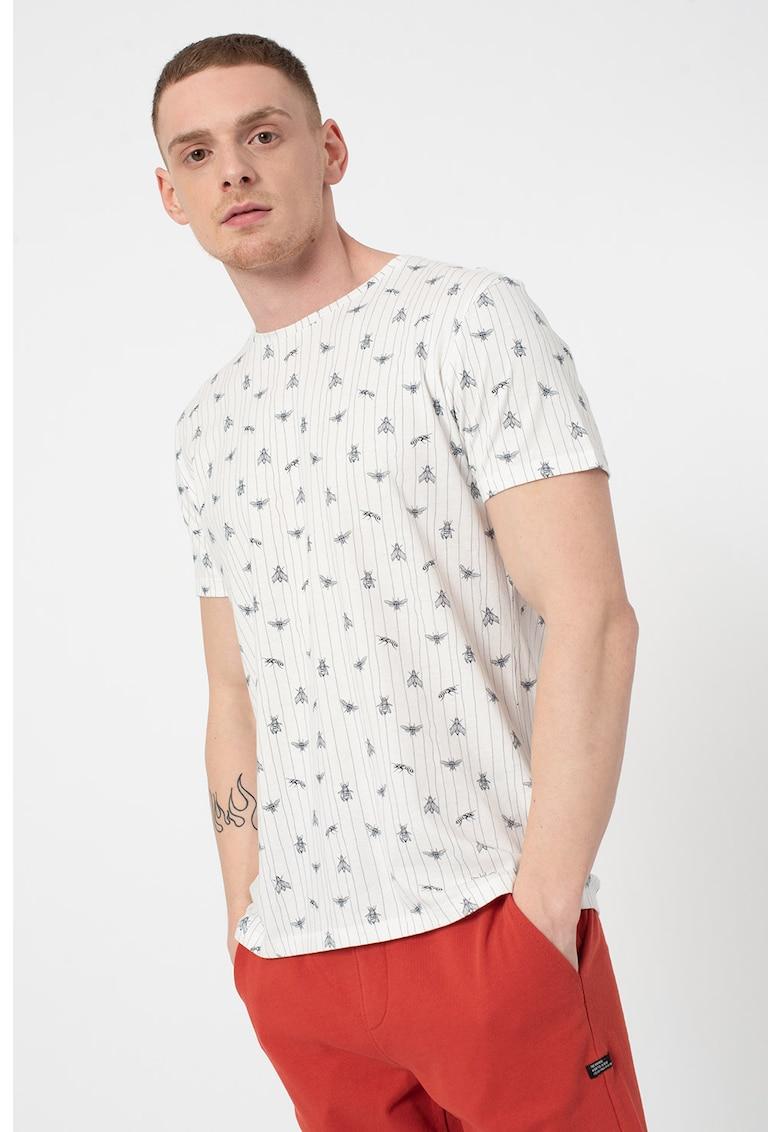 Tricou de bumbac organic cu imprimeu grafic si in dungi