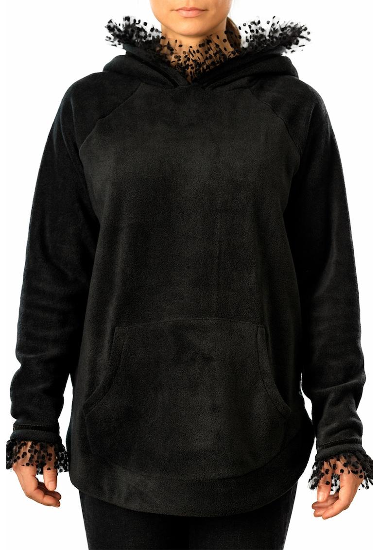 Hanorac din fleece cu insertii de plasa