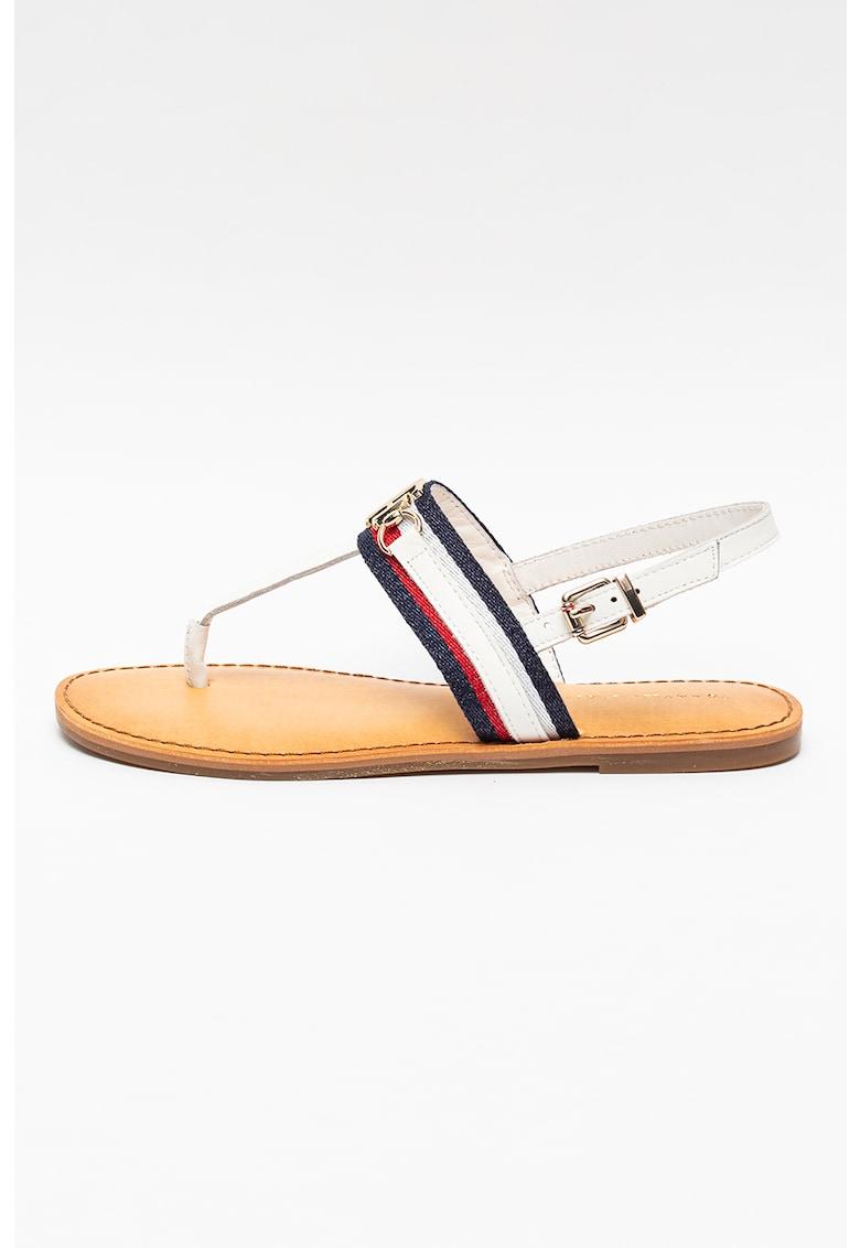 Sandale cu bareta separatoare si garnituri de piele