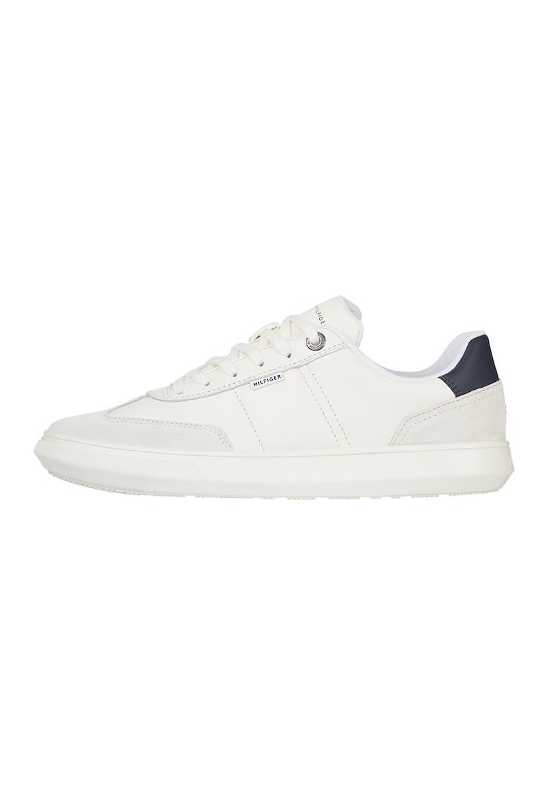Pantofi sport de piele si piele intoarsa cu detalii logo