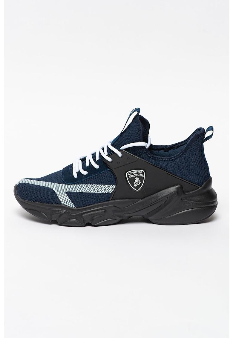 Pantofi sport cu aspect tricotat si detalii de piele intoarsa