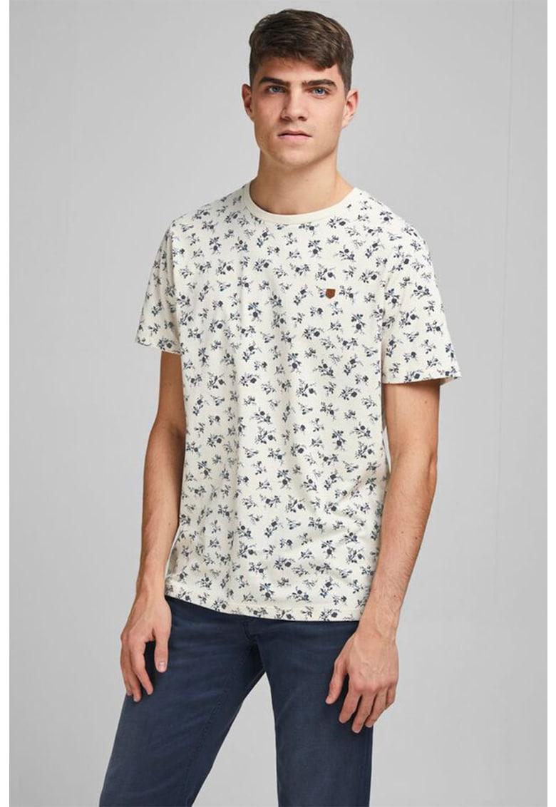 Tricou cu decolteu la baza gatului si model floral Bărbați imagine