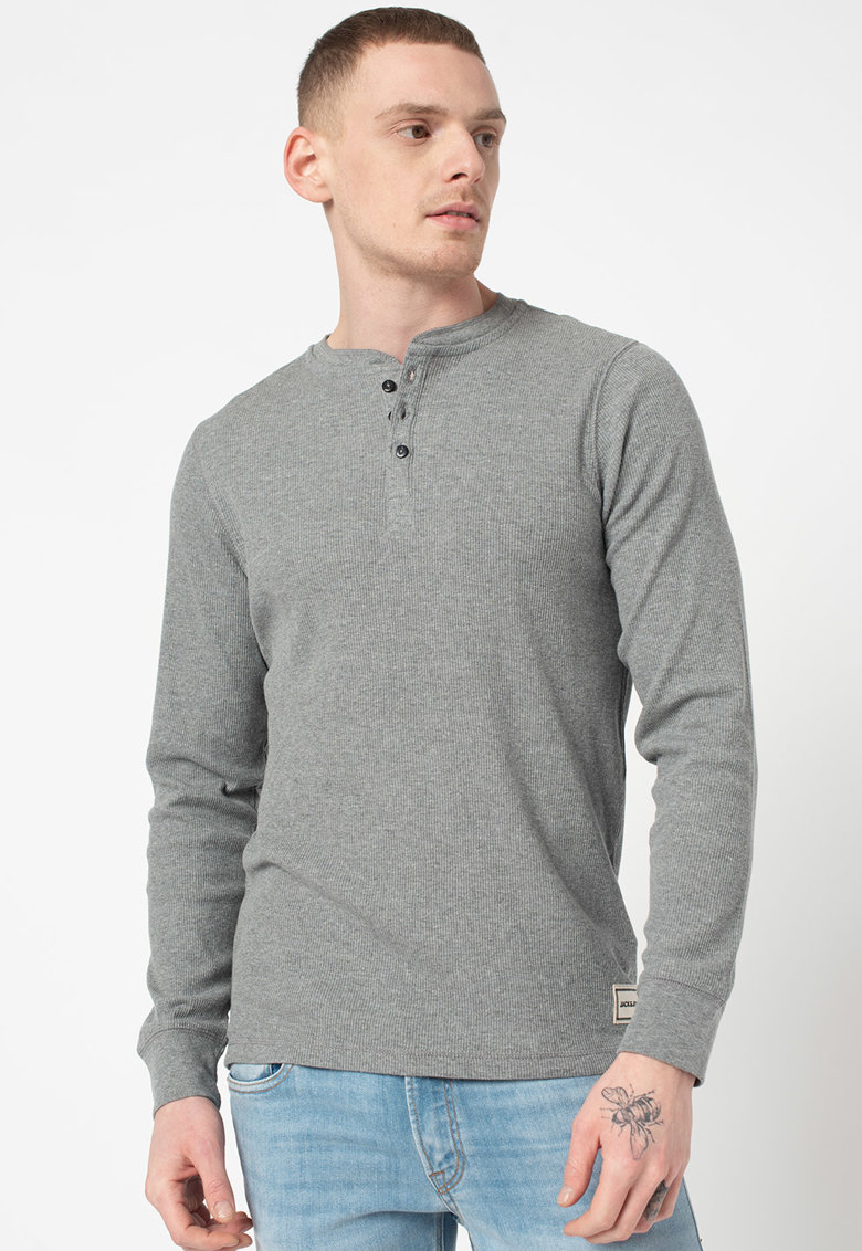 Bluza cu decolteu henley Henrik imagine fashiondays.ro