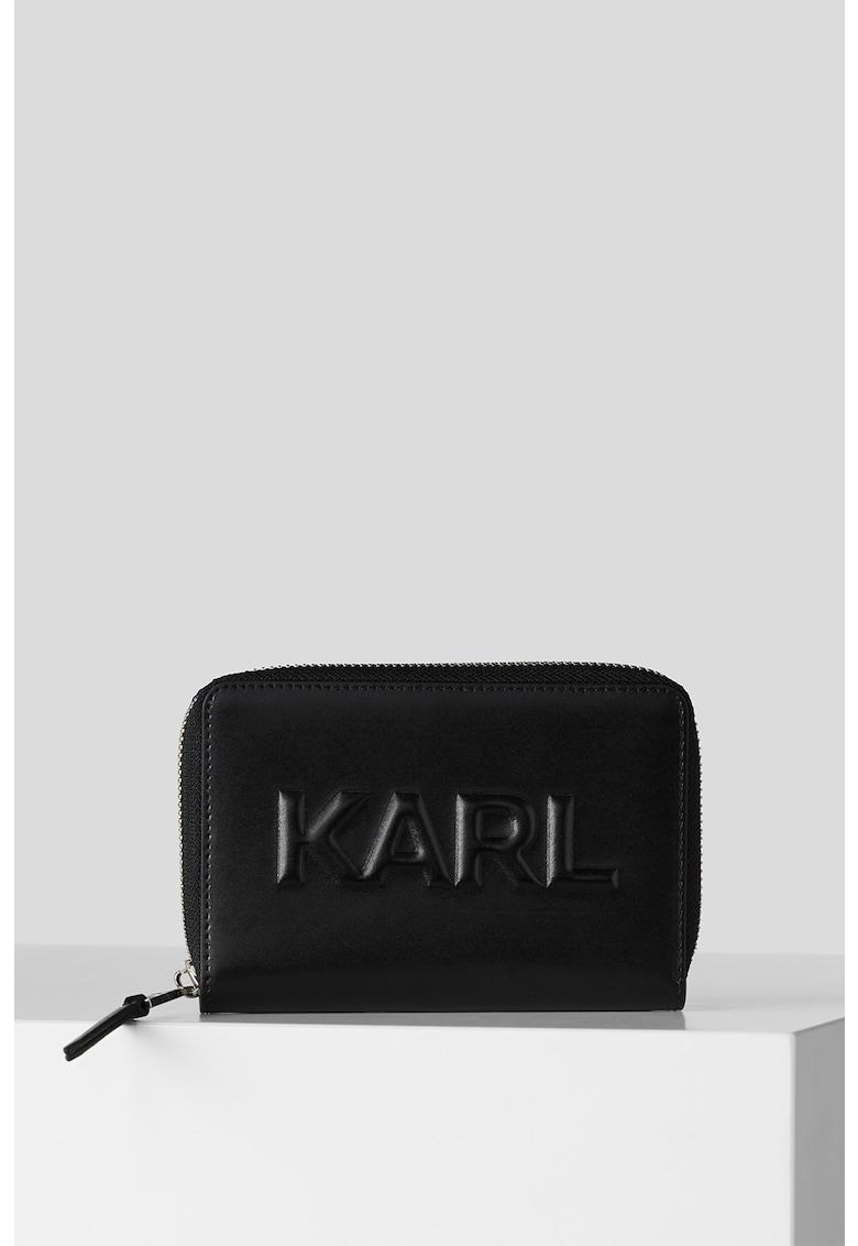 Karl Lagerfeld Portofel din piele cu logo in relief K/Karl Seven