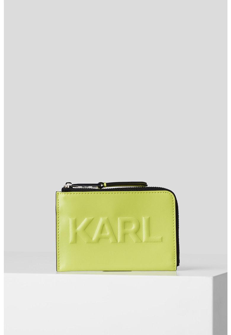 Portcard de piele cu logo in relief K/Karl Seven imagine fashiondays.ro Karl Lagerfeld
