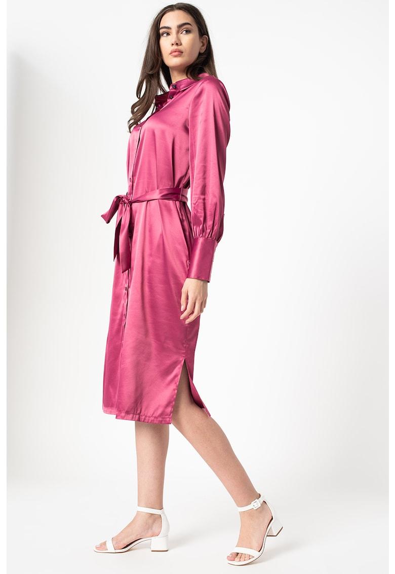 Rochie tip camasa de satin cu slituri laterale