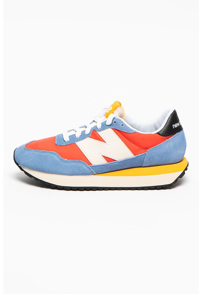 Pantofi sport din piele intoarsa cu model colorblock si insertii din material textil 327