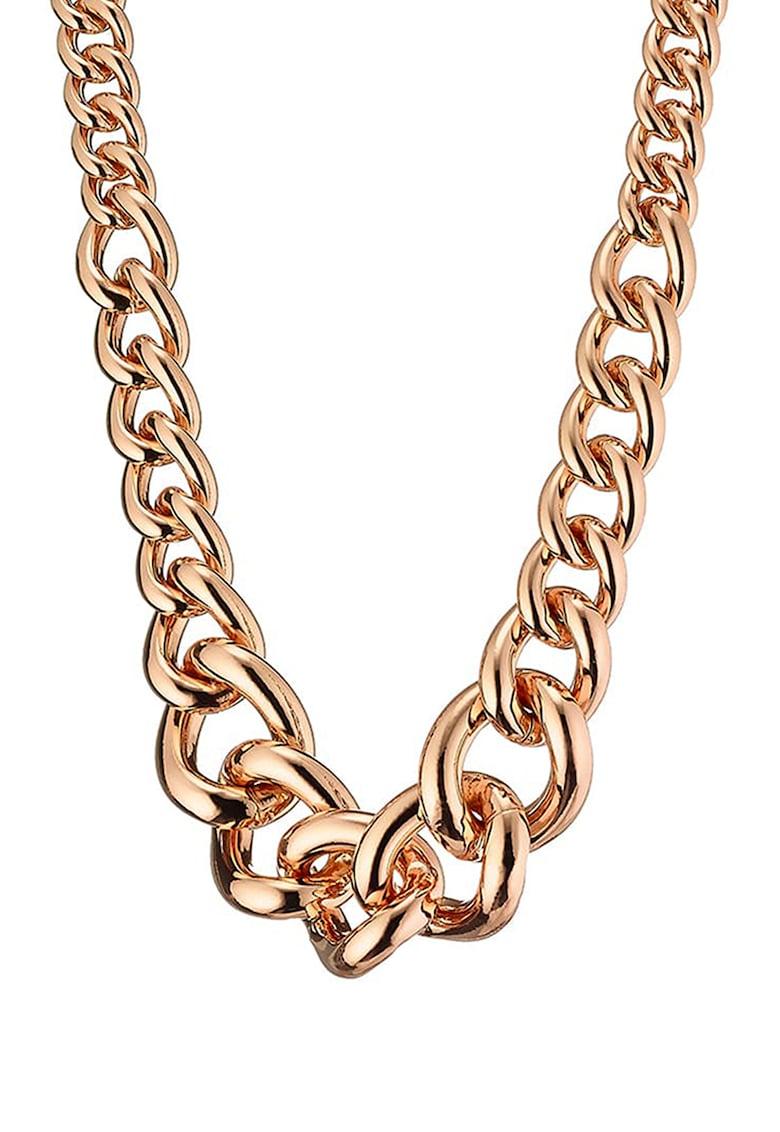 Colier scurt din otel inoxidabil placat cu aur rose de 14K poza fashiondays