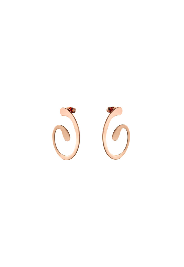 Cercei in forma geometrica - placati cu aur rose de 14K fashiondays.ro