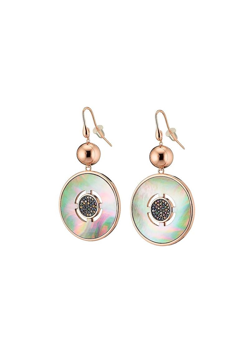 Cercei drop cu insertii Mother of Pearl - placati cu aur rose de 14K poza fashiondays