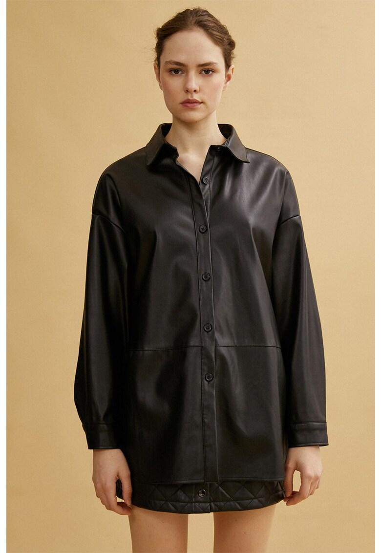 Jacheta tip camasa din piele ecologica de la KOTON