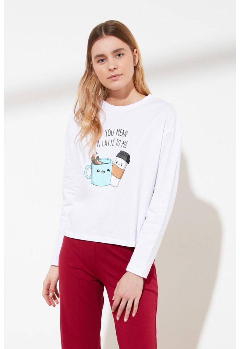 Pijama cu imprimeu grafic imagine fashiondays.ro