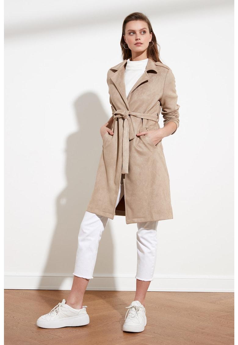 Palton de piele intoarsa ecologica cu un cordon