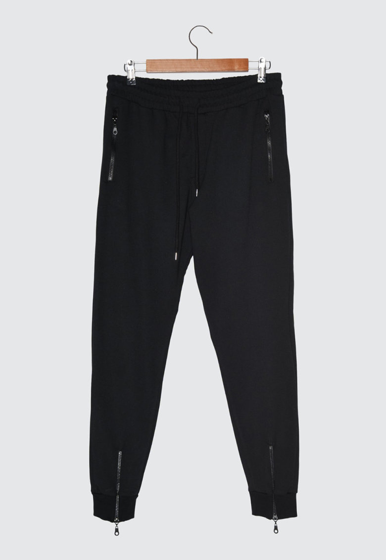 Pantaloni jogger conici cu snur imagine fashiondays.ro