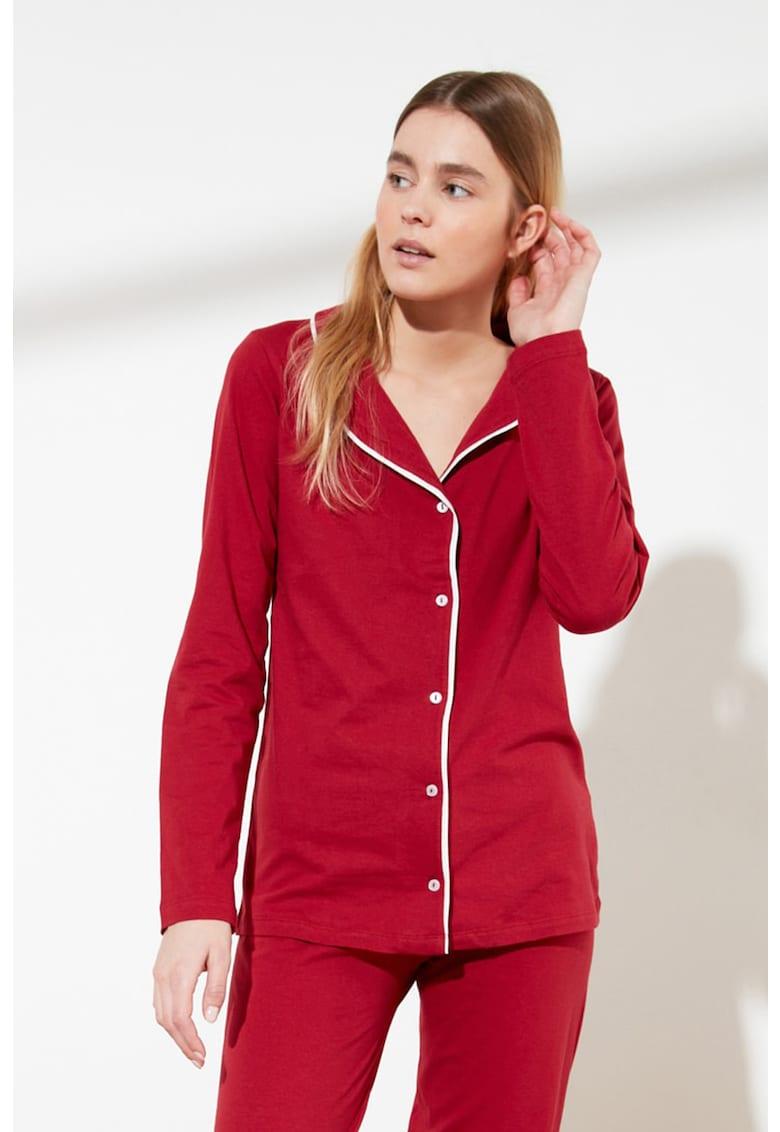 Pijama de bumbac cu detalii contrastante poza fashiondays