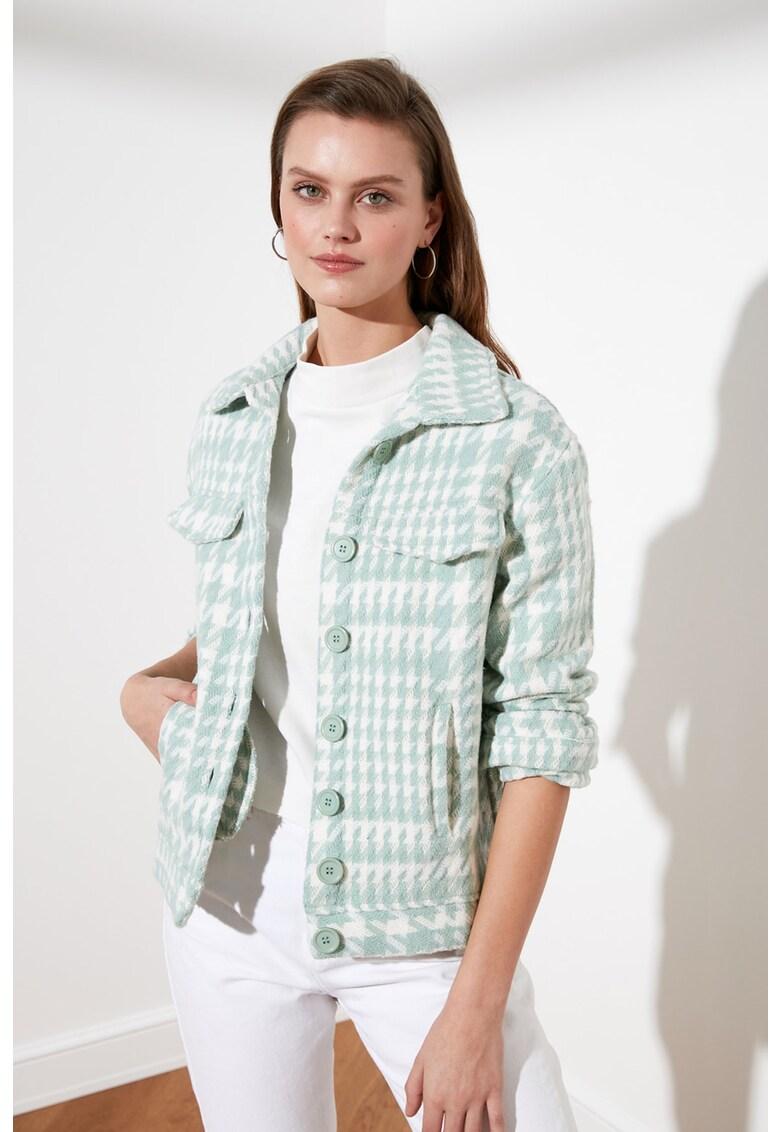 Jacheta cu imprimeu si buzunare laterale fashiondays.ro