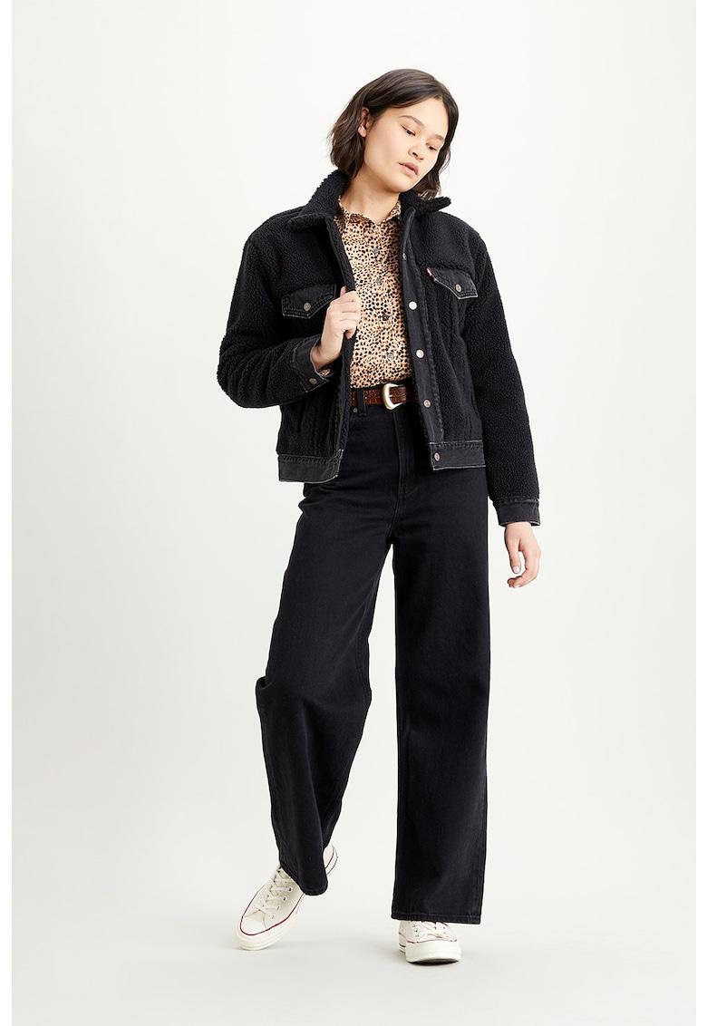 Jacheta din blana sherpa cu garnituri din denim Ex-Boyfriend de la Levis