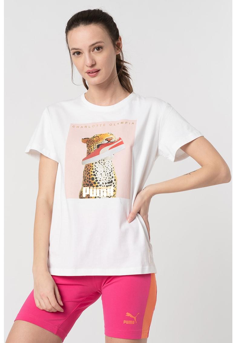 Tricou de bumbac cu decolteu la baza gatului Puma fashiondays.ro