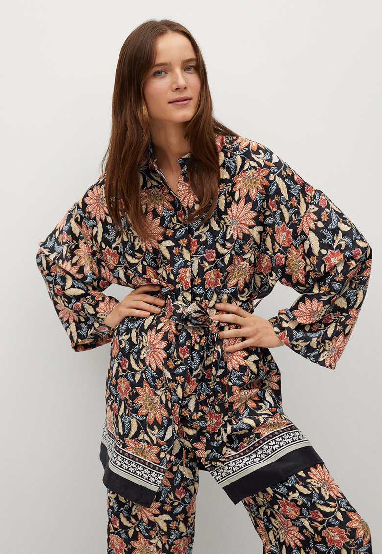 Kimono cu imprimeu floral si cordon imagine fashiondays.ro Mango