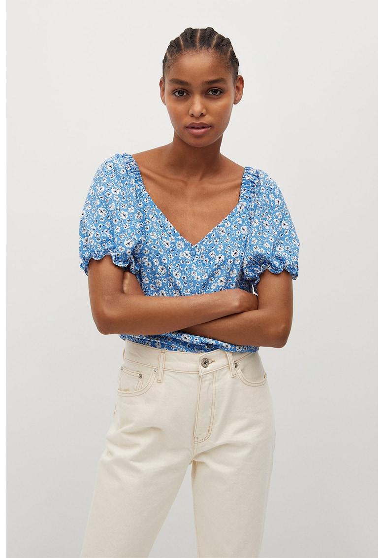 Bluza cu decolteu in V si model floral Sere