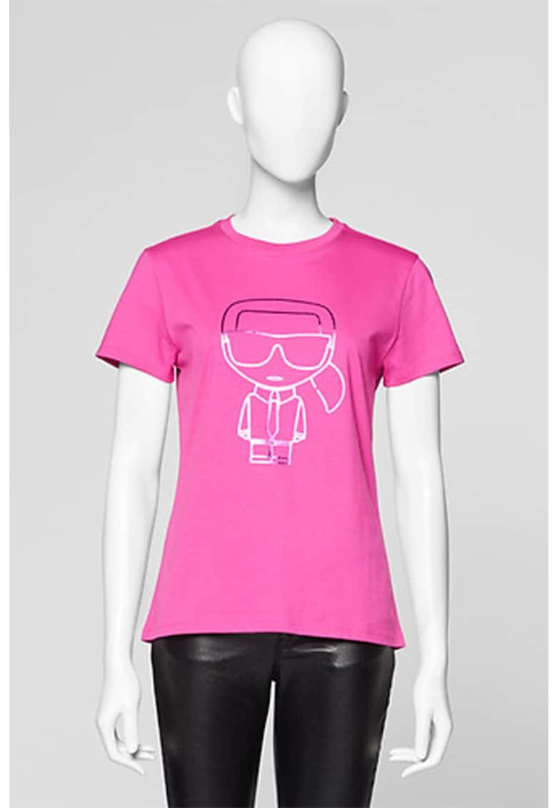 Tricou cu decolteu la baza gatului si imprimeu logo metalizat Karl Lagerfeld fashiondays.ro