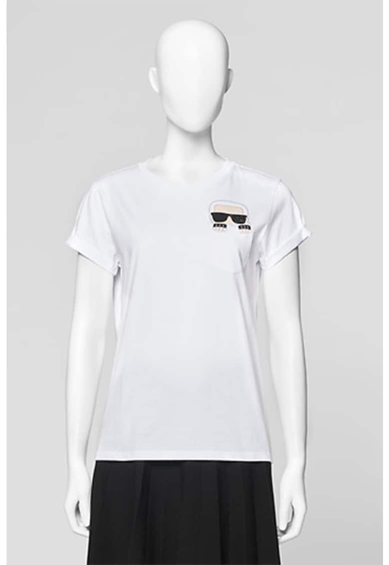 Tricou cu decolteu la baza gatului si buzunar aplicat pe piept de la Karl Lagerfeld