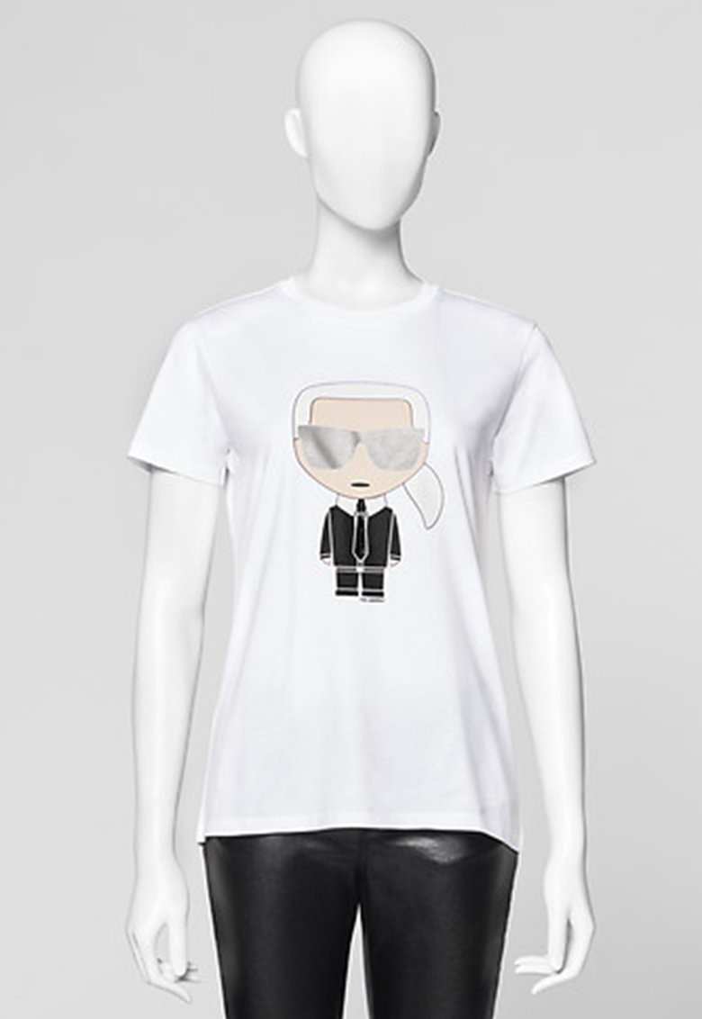Karl Lagerfeld Tricou cu decolteu la baza gatului si imprimeu logo Ikonik