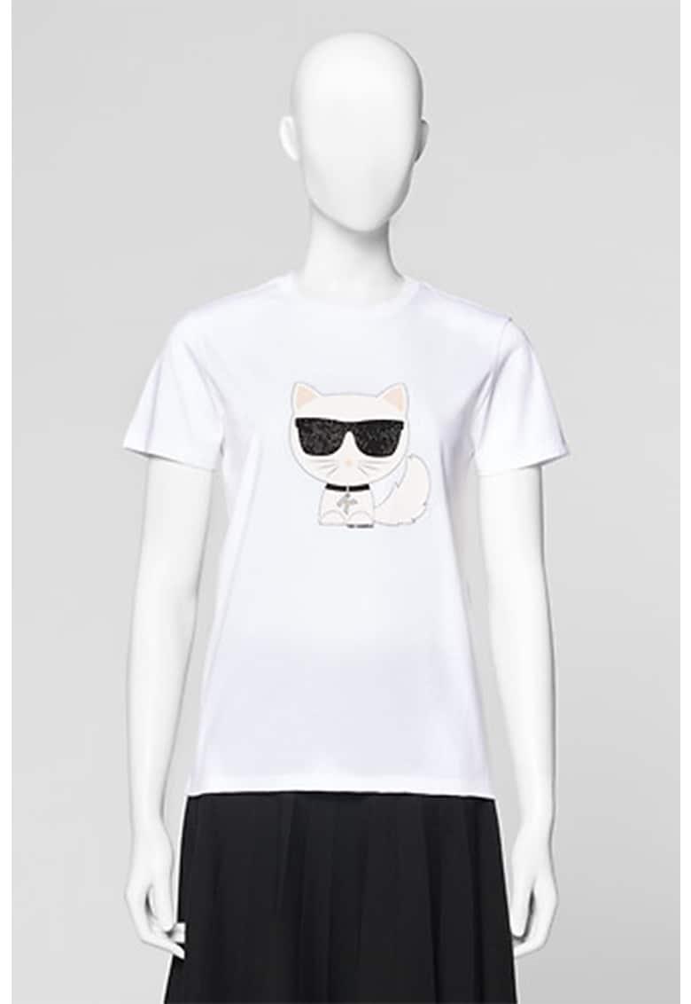 Karl Lagerfeld Tricou cu decolteu la baza gatului si imprimeu logo Ikonik Choupette