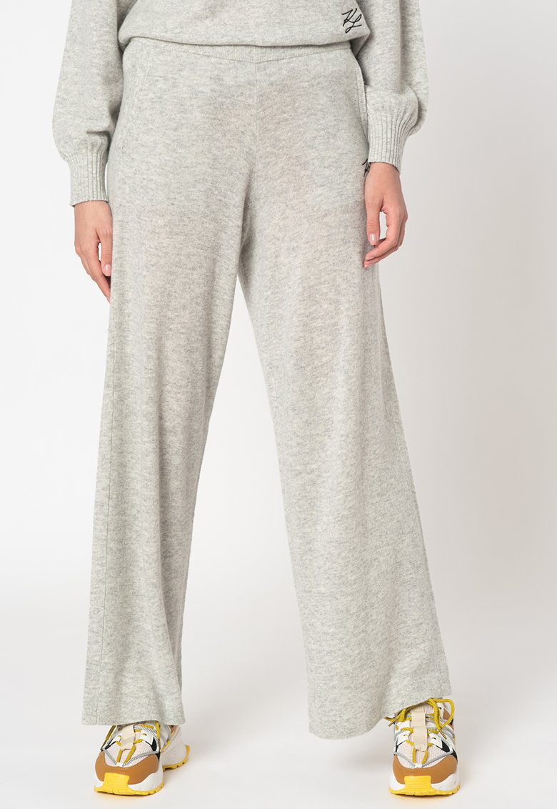 Pantaloni de casa din lana si casmir cu croiala ampla